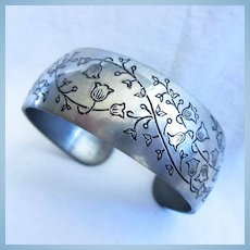 Lily of The Valley Pewter Leonard Signed Cuff Bracelet
