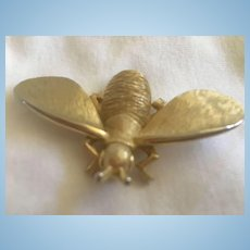 Signed Modernist Big Bug  Gold Textured Brooch
