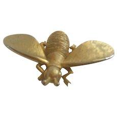 Signed Modernist Big Bug  Gold Textured Brooch