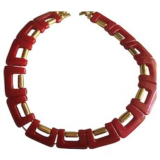 Raspberry Red Lucite Geometric Deco Style Collar Necklace