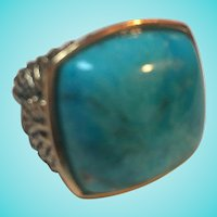 Barse Signed Turquoise Vermeil Gorgeous Ring