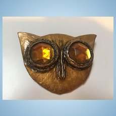 Rare Enid Collins Signed Papier Mache Owl Huge Statement Brooch