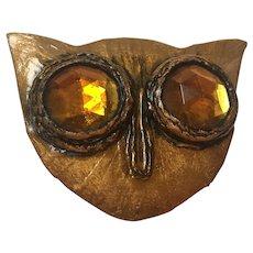 Rare Enid Collins Signed Papier Mache Owl Huge Statement Brooch