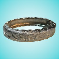 Monet Signed Classic Silvertone Basketweave Bangle Bracelet