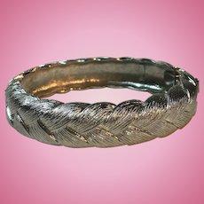 Monet Signed Classic Silvertone Basketweave Bangle Bracelet