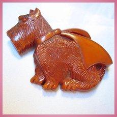 Fab Celluloid Scottie Dog Figural Brooch