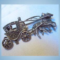 Royal Cinderella Carriage Horse Sterling Silver Marcasite Brooch
