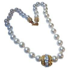 Swarovski Signed fx Pearls Art Deco Style Centerpiece Glamorous Necklace