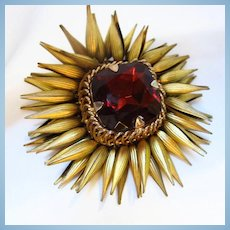 Amazing Rare Huge Garnet Glass Gold Plate Moving Cone Petals Brooch Signed