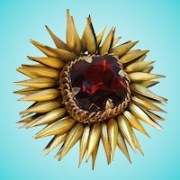 Amazing Rare Huge Garnet Glass Gold Plate Articulated Petals Signed Brooch