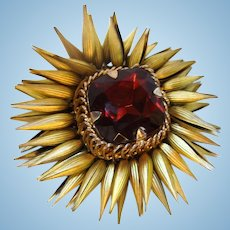 Amazing Rare Huge Garnet Glass Gold Plated Moving Cone Petals Brooch Signed