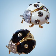 Joan Rivers Lucky Lady Bugs Black White Set Enamel Brooches