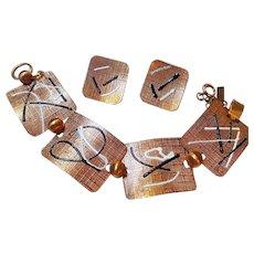 Modernist Mid Century Copper Wide Statement Bracelet Earrings Set