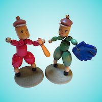 Kitschy Wood Baseball Players 1940s Hand Made Arts Crafts