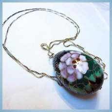 Chinese Cloisonne Enamel Flower Egg Shape Pendant Long Vermeil Chain