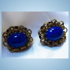 Stunning Lapis Huge Cabochons Link Chain Frame Screw Clip Earrings