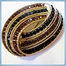 Trifari Signed Golden Black Swarovski Crystal Sparkling Classic Brooch