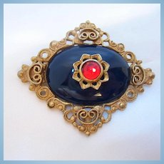Classic Dark Blue Red Cabochon Ornate Setting Vintage Brooch