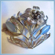 Alice Caviness Signed Sterling Silver Filigree Flower Moonglow Brooch