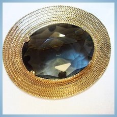 Accessocraft Signed Huge Smokey Topaz Crystal Classic Brooch