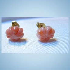 Carved Coral Petite Scalloped Angelskin Gold filled Post Earrings