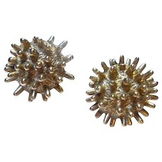 Castlecliff Classic Spiked Modernist Gold Plate Clip Earrings Signed