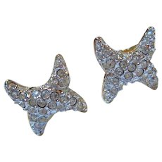 Swarovski Signed Pave Crystal Love X Clip Earrings