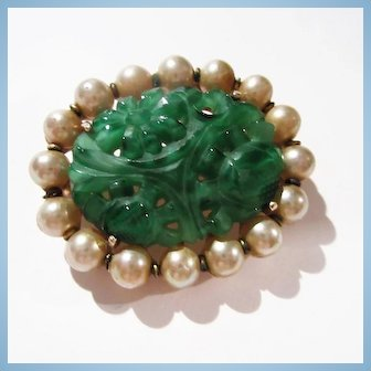 Marvella Signed Green Peking Glass fx Pearl Dynasty Brooch