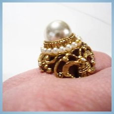 Florenza Sized Ornate Huge fx Pearl Cocktail  Statement Adjustable Ring