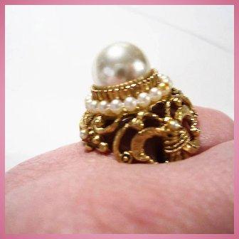 Florenza Sized Ornate Huge fx Pearl Cocktail  Statement Adjustable Ring