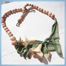 Fabulous Polymer Clay Pink Salmon Cream Flowers Green Leaves Artist Made OAK Necklace
