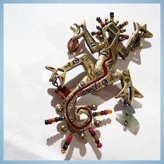 Gaudi Style Figural Artist Made Beads Semi Precious Stones Enamel Brass Statement Brooch