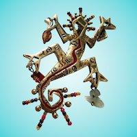 Gaudi Style Figural Artist Made Beads Semi Precious Stones Enamel Brass Statement Brooch