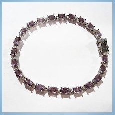 Sterling Silver Pale Purple Genuine Amethyst Tennis Bracelet