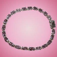 Sterling Silver Pale Purple Genuine Amethyst Tennis Bracelet