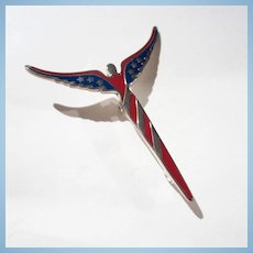 Lavaggi American Angel Red Blue Enamel Art Deco Style Sterling Silver Pin Signed Original Box
