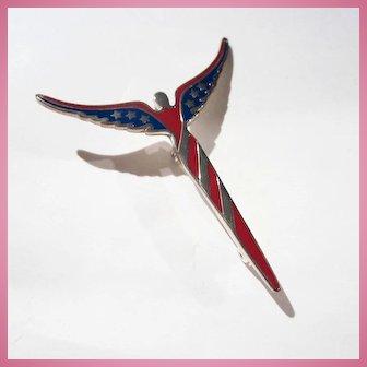 Lavaggi American Angel Red Blue Enamel Art Deco Style Sterling Silver Pin Signed Original Box