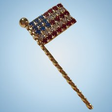 American Flag Red White Blue Swarovski Crystal Brooch