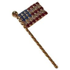 American Flag Red White Blue Swarovski Crystal Brooch