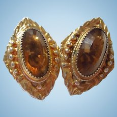 Whiting and Davis Gorgeous Topaz Crystal Victorian style Clip Earrings Signed