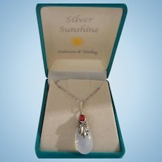 Gorgeous Moonstone Rubellite Sterling Silver Pendant Necklace