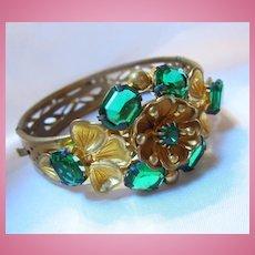 Stunning Signed Czech Emerald Green Floral Open Work Bracelet