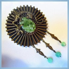 Fabulous Czech Griffin Peking Glass Dangles Unsigned Neiger Brooch
