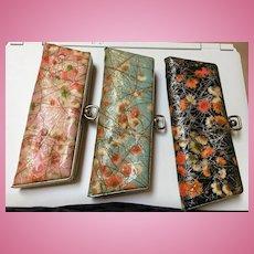 Kitchy 1950s Vinyl Flower Eye Glass Cases Set of Three