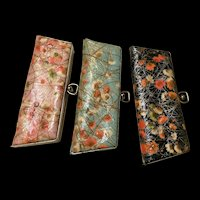 Kitchy 1950s Vinyl Flower Eye Glass Cases Set of Three