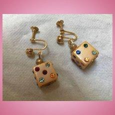 Art Deco Era Champagne Color Bakelite Dice Jeweled Rhinestone Earrings
