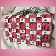 Garden Party Pink Wicker White Leather Vintage Summer Handbag
