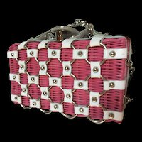 Garden Party Pink Wicker White Leather Summer Handbag
