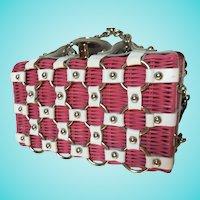 Garden Party Pink Wicker White Leather Summer Handbag