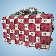 Garden Party Pink Wicker White Leather Vintage Summer Handbag